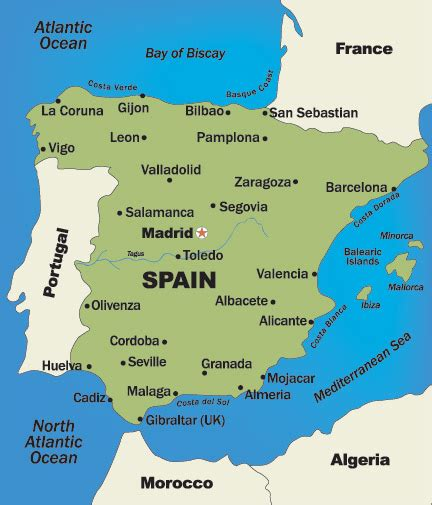map of spain and regions spain and portugal honeymoon destination