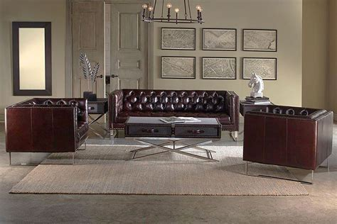 sofa loveseat and chair set garrison quot ship quot 3 tufted leather sofa loveseat and chair set