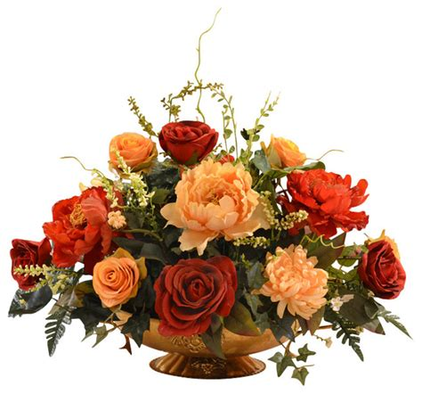 decorative floral arrangements home floral home decor rose and peony large silk flower