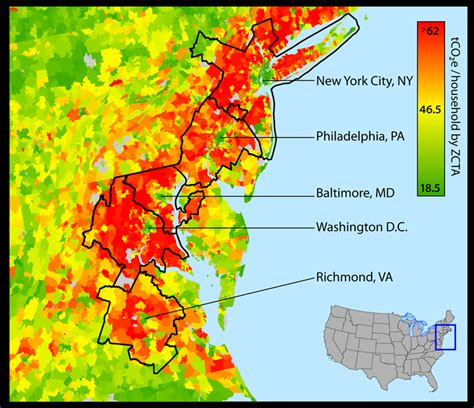 area code map eastern us average household carbon footprint eastern united states