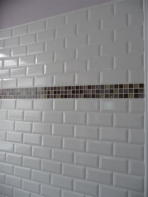 subway tiles white white subway tile with mosaic glass band accent kitchens pinterest mosaics kitchen