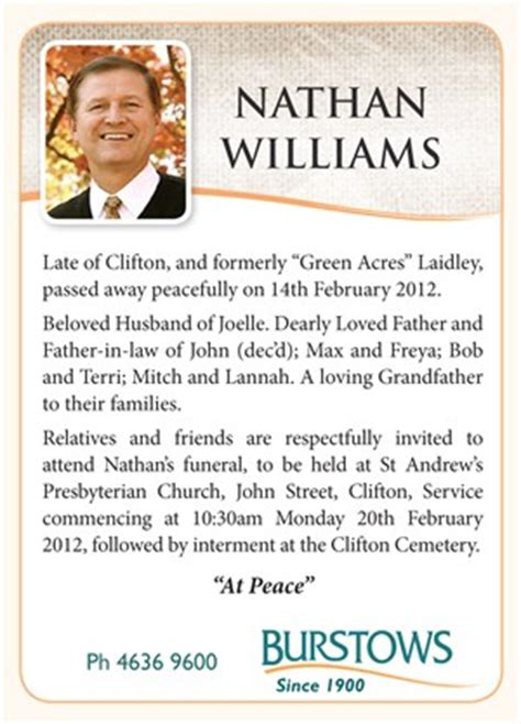memorial service notice template the funeral notice burstows