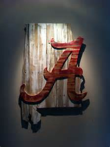 alabama crimson tide home decor wooden state of alabama with crimson tide logo