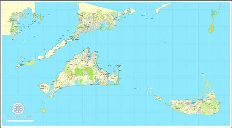 us islands vector map nantucket and martha s vineyard islands massachusetts us