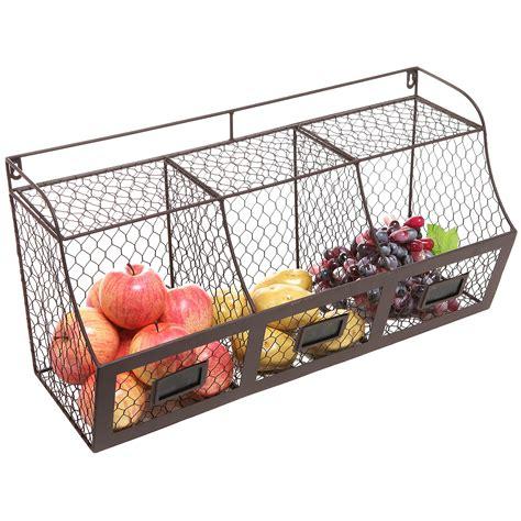 Shelf Hanging Basket by Large Rustic Brown Metal Wire Wall Mounted Hanging Fruit Basket Storage Ebay