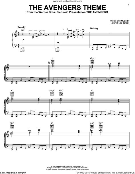 theme song avengers johnson the avengers theme sheet music for piano solo