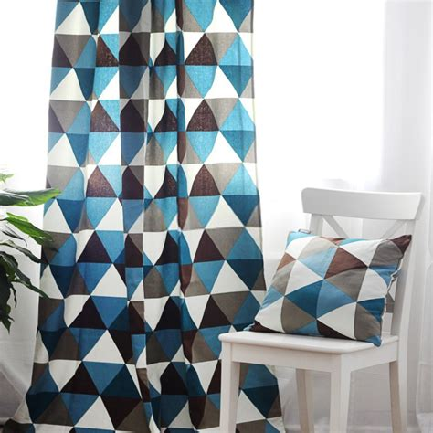 chic cotton special imaged blue print curtains