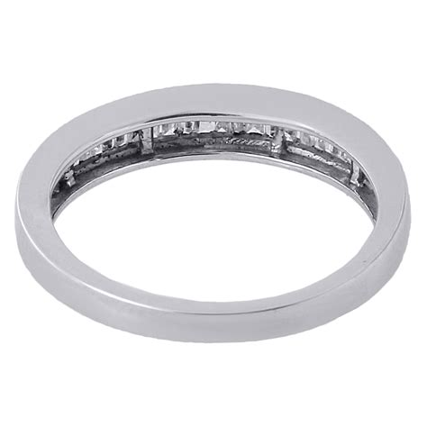 real baguette wedding band ring in 925 sterling