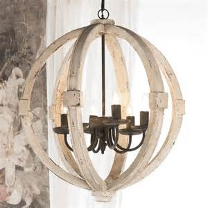 Ashland Home Decor White Washed Wood Sphere Chandelier Chandeliers By