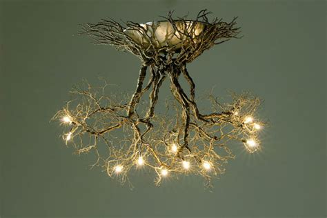 tree branch ceiling light fixture roots medium handmade ceiling light made of pewter wires