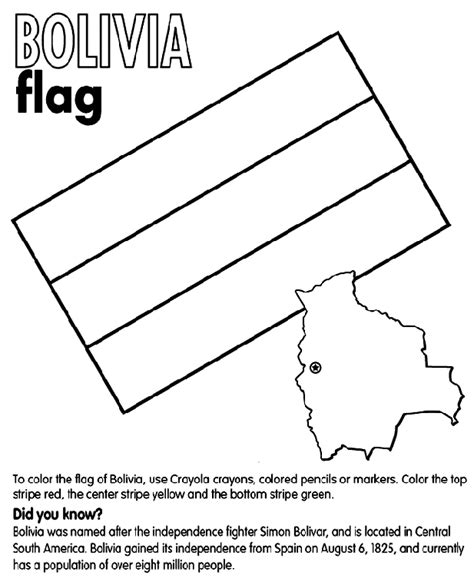 Bolivia Coloring Page Crayola Com Flag Of Bolivia Coloring Page