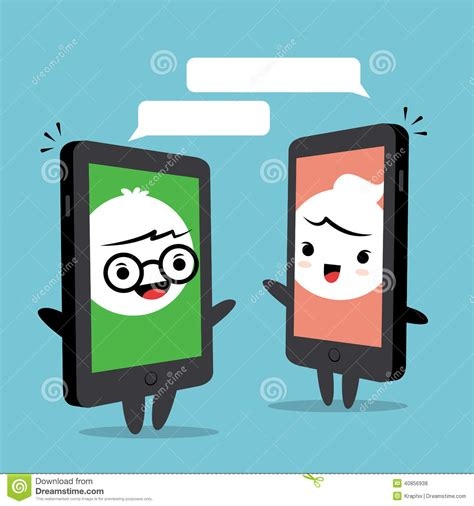 smartphone chat cartoon stock vector image 40856938