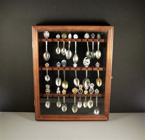 Collectible Spoon Rack by Glass Front Wooden Collector Spoon Cabinet Rack By