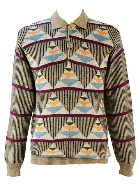 triangle pattern jumper button front jumper with triangular striped graphic