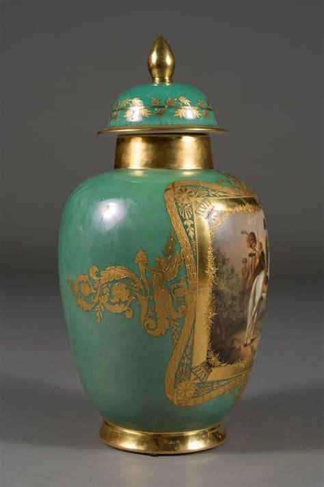 Dresden Vase by Antique Dresden Porcelain Jeweled Napoleonic Covered Vase