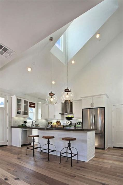 shaped kitchens  vaulted ceilings high vaulted