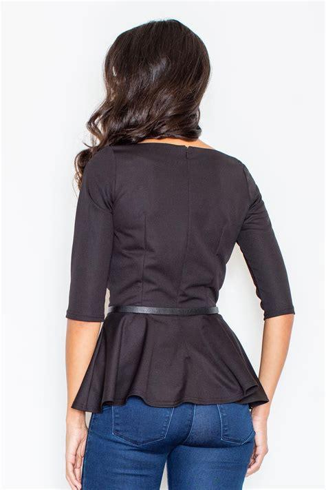 black peplum waist blouse with leather belt