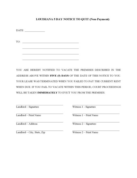 Louisiana 5 Day Notice To Quit For Nonpayment Of Rent Free Download 5 Day Notice To Pay Rent Template
