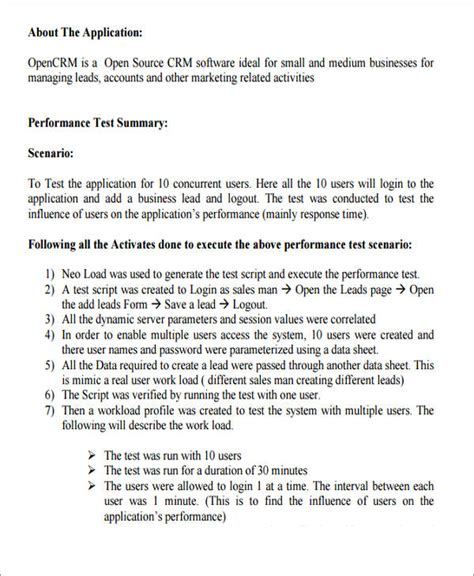 performance test report template performance testing report template 28 images