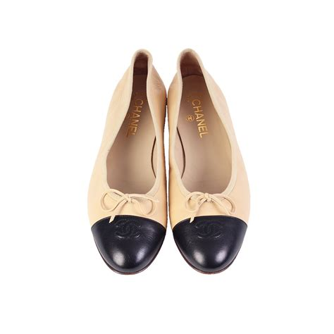 chanel shoes flat chanel leather cc cap toe ballerina flats beige and black