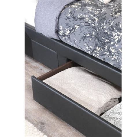 lanolin single bed in black faux leather with 2 drawers
