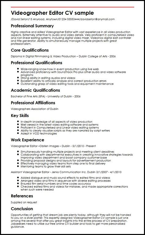 Videographer Resume by Videographer Editor Cv Sle Myperfectcv