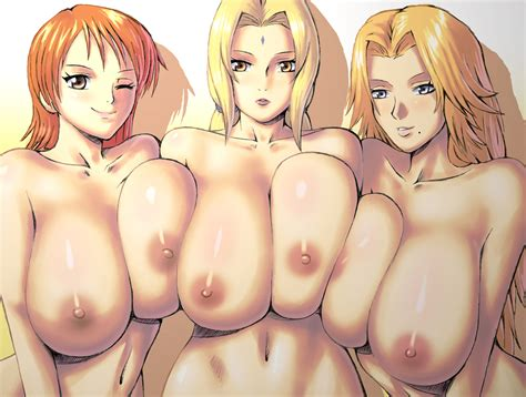Matsumoto Rangiku Nami And Tsunade Bleach Naruto And One Piece Drawn By Apostle Danbooru