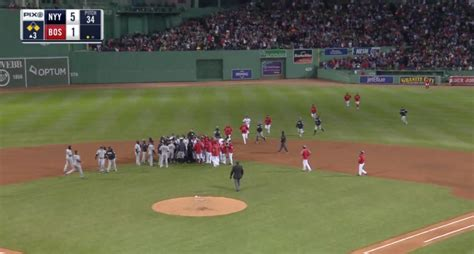 yankees red sox benches clear benches repeatedly clear at fenway park after hard slide