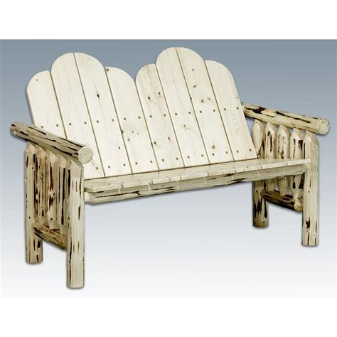Unfinished Wood Patio Furniture by Montana Woodworks Log Deck Bench Unfinished 140613