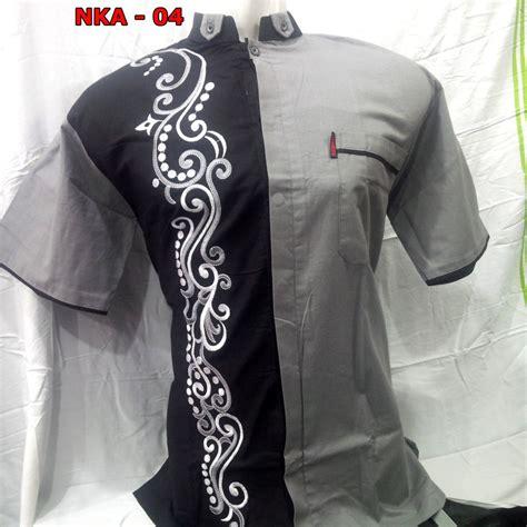 Baju Muslim Kemeja Koko Gks06 baju koko lengan pendek warna abu abu busanamuslimpria