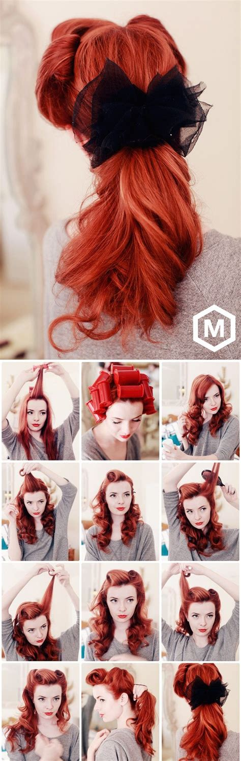 over 50 easy hair tutorials diy romantic retro ponytail tutorial diy tutorials and