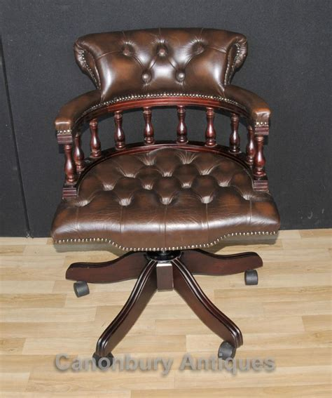 victorian captains chair office swivel desk chairs  leather