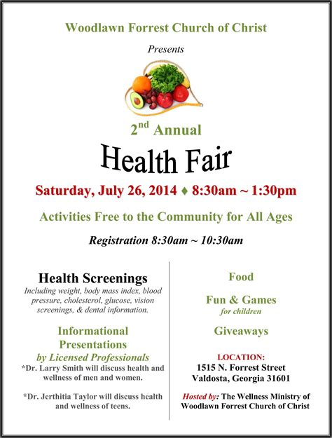 2014 wellness health fair flyer valdosta today