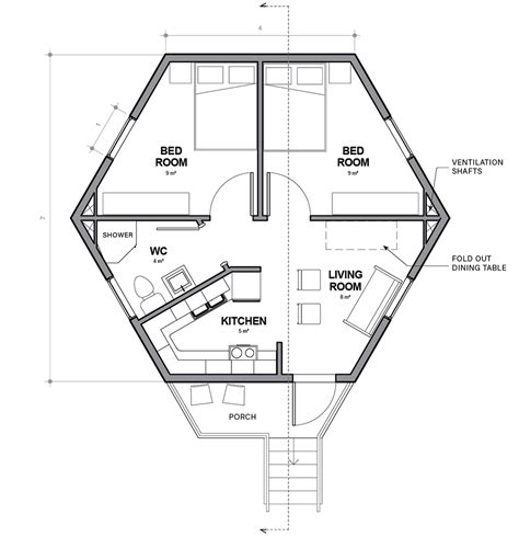 hexagon house floor plans architects for society designs low cost hexagonal shelters