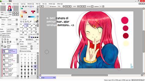 tutorial gambar di paint tool sai tutorial mewarnai anime di paint tool sai menggunakan mouse