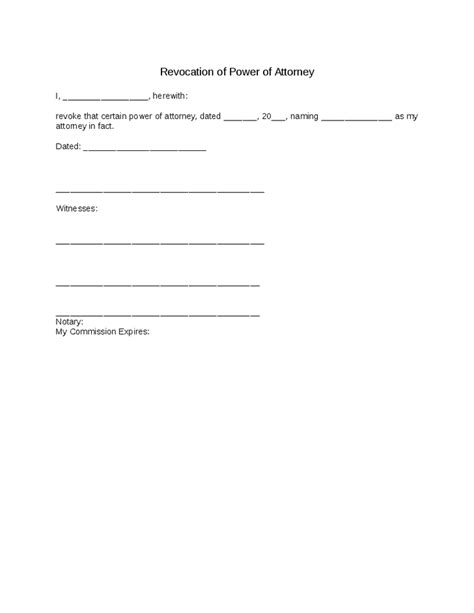 free printable power of attorney template power of attorney revocation simple hashdoc