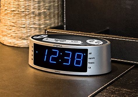 itoma clock radios blue led alarm clock radio am fm dual alarm auto time date ebay