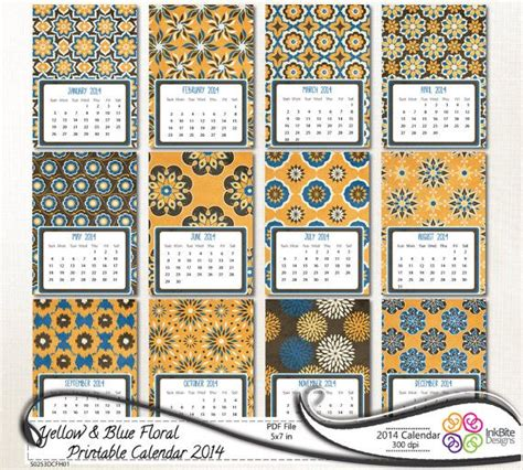 printable calendar yellow blue floral printable