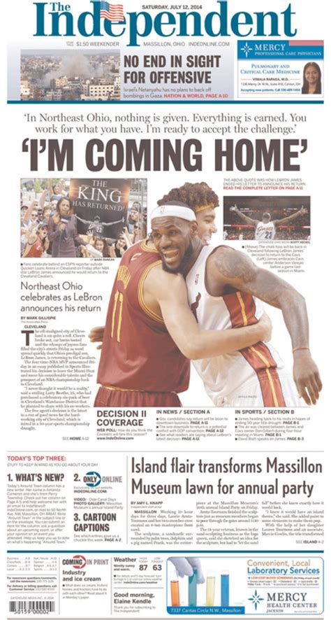 akron beacon journal sports section newspaper front pages get blown out for lebron s return to