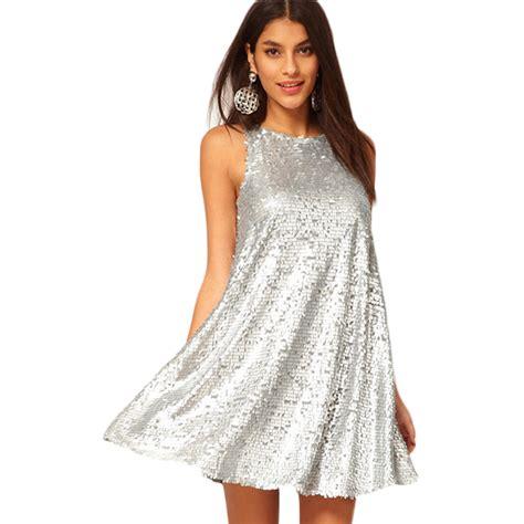 vestidos club fashion silver color
