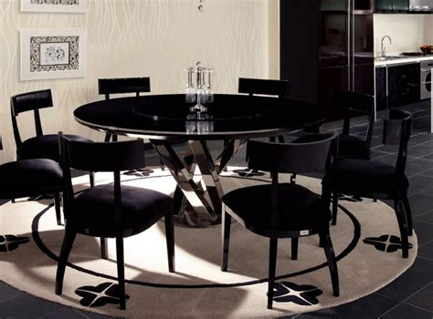 Dining Room Table With Lazy Susan by Spiral Round Black Crocodile Lacquer Table W Lazy Susan
