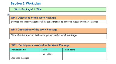 project management work package template work package description template for project