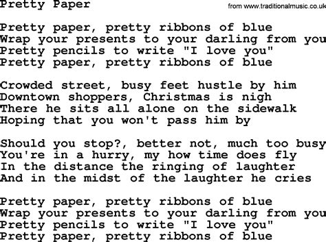 Paper Lyrics - opinions on pretty paper song