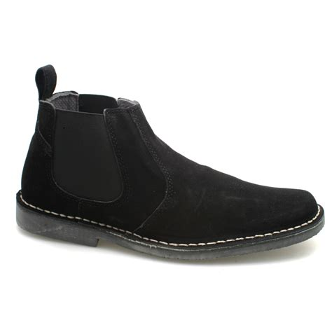 mens suede gusset black suede ankle chelsea boots