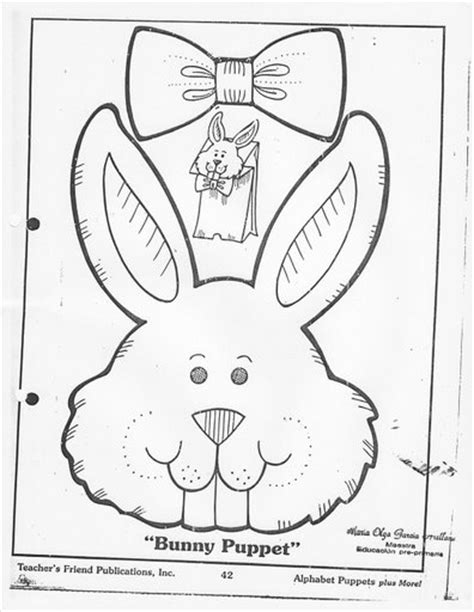 easter bunny paper bag puppet template crafts actvities and worksheets for preschool toddler and