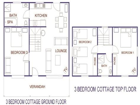 3 bedroom house blueprints 3 bedroom cottage house plans rustic house plans two