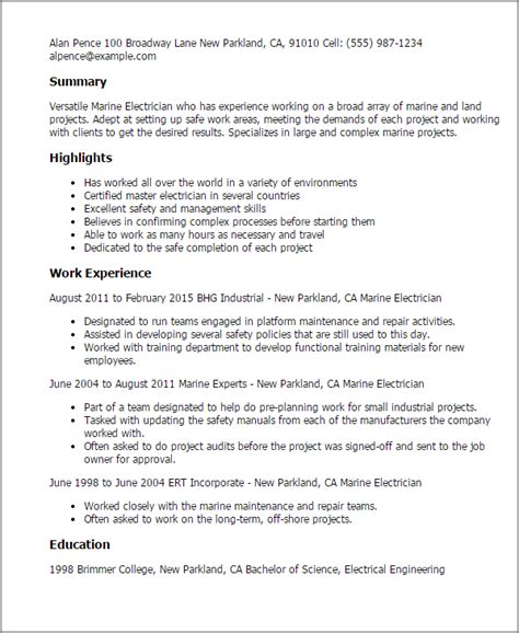 Marine Resume by 1 Marine Electrician Resume Templates Try Them Now