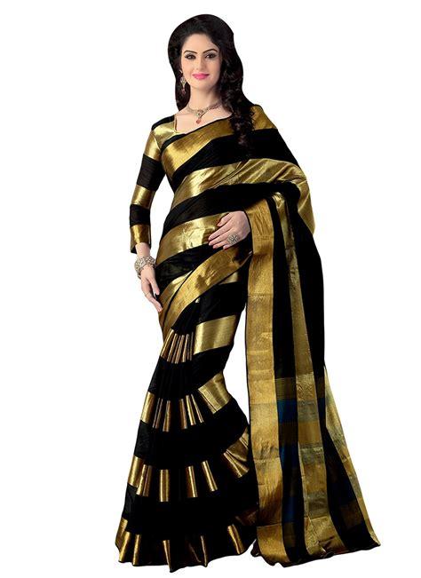 Sari And Gold buy black n gold cotton striped pattern saree sari