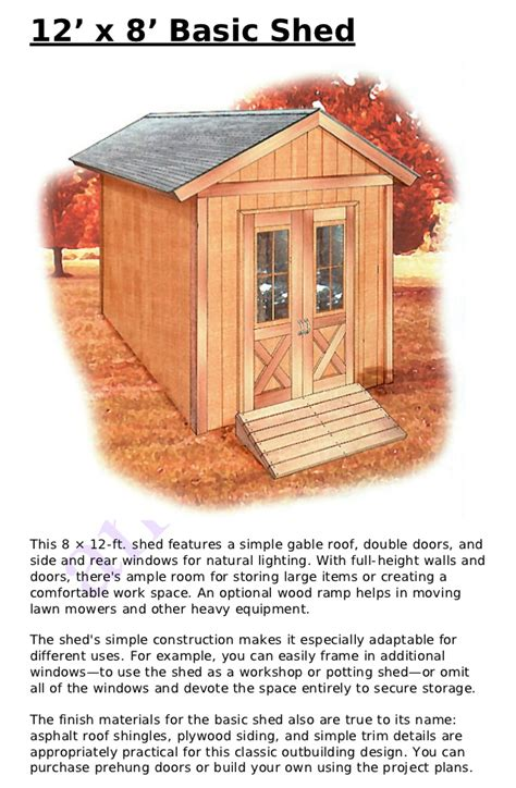 Shed Designs 8 X 12 by 12 X 8 Shed Plans Free
