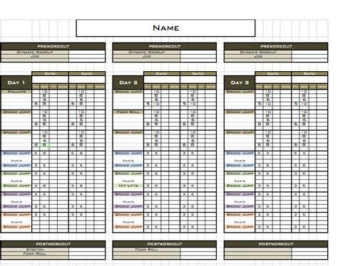personal trainer workout template fitness plan template